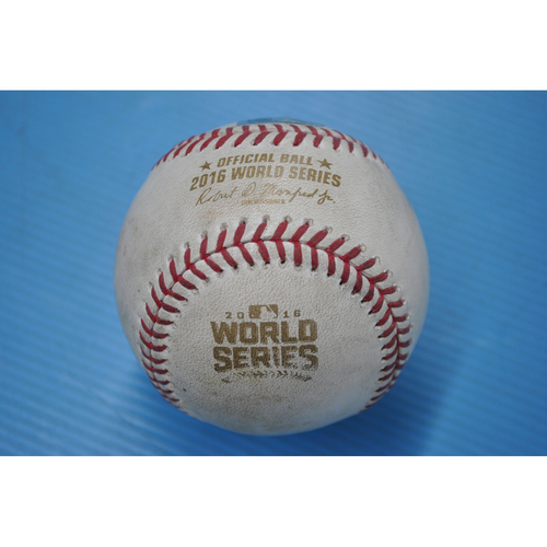 Photo of Game-Used Baseball - 2016 World Series - Game 4 - Pitcher: Andrew Miller, Batter: Jason Heyward - Ground Out - 7th Inning