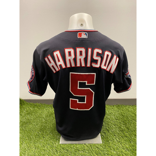 Photo of Josh Harrison 2020 Game-Used World Series Champions Navy Script Jersey