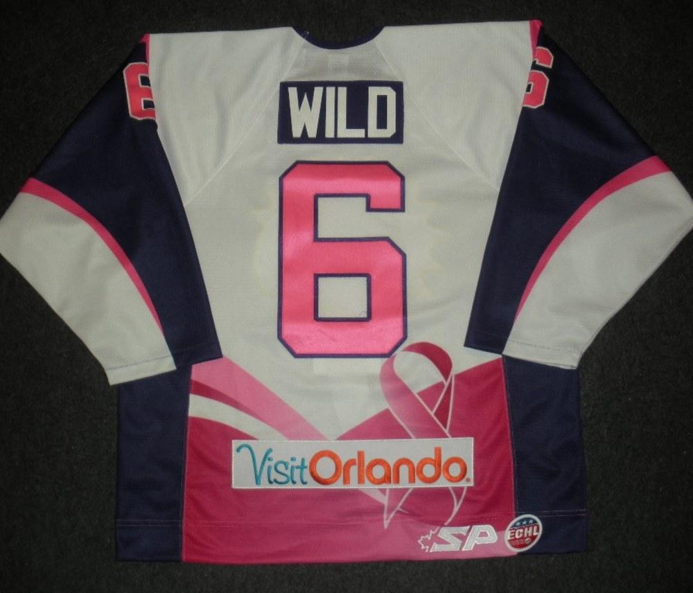 Cody Wild - Orlando Solar Bears - Hockey Fights Cancer Game-Worn Jersey