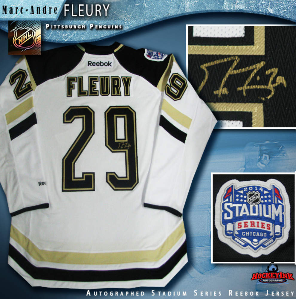 MARC ANDRE FLEURY Signed 2014 NHL Stadium Series Pittsburgh Penguins White Reebok Jersey