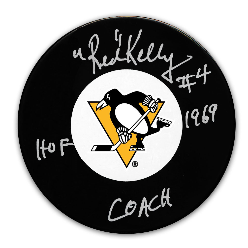 Red Kelly Pittsburgh Penguins HOF Coach Autographed Puck