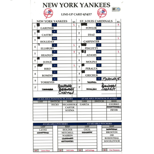 Photo of St. Louis at Yankees 4-14-2017 Game-Used Lineup Card