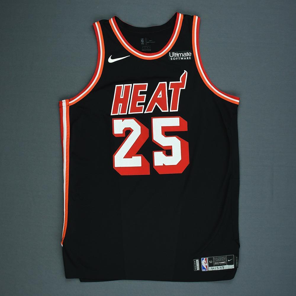 Jordan Mickey - Miami Heat - Game-Worn Classic Edition 1988-99 Road Jersey - 2017-18 Season