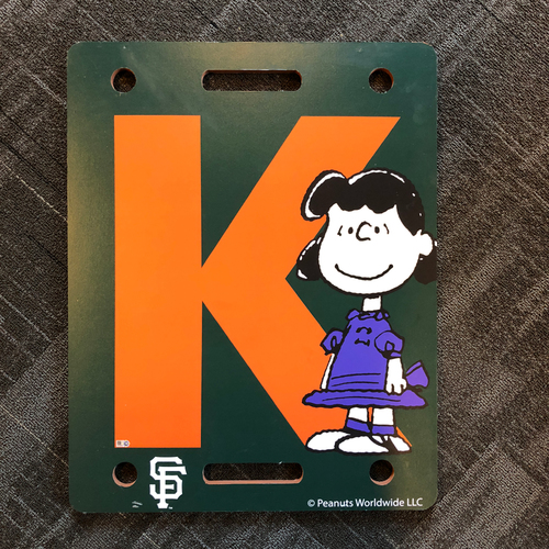 "Photo of San Francisco Giants - 2018  Team Issued Strikeout ""K Board"" - PEANUTS Day - Lucy"