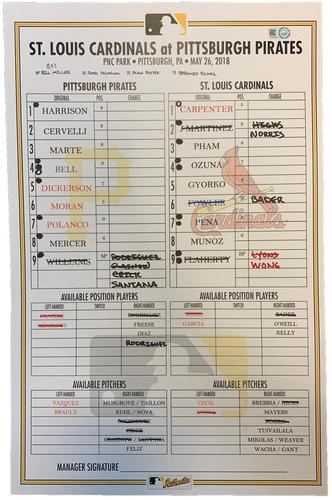 Photo of Game-Used Lineup Card from Pirates vs. Cardinals on 5/26/18 - Matt Carpenter Lead Off Home Run