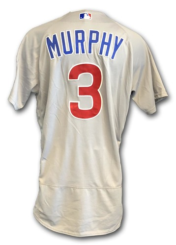 Photo of Daniel Murphy Game-Used Jersey -- Cubs at White Sox -- 9/22/18 -- Murphy 1 Hit, Double, RBI