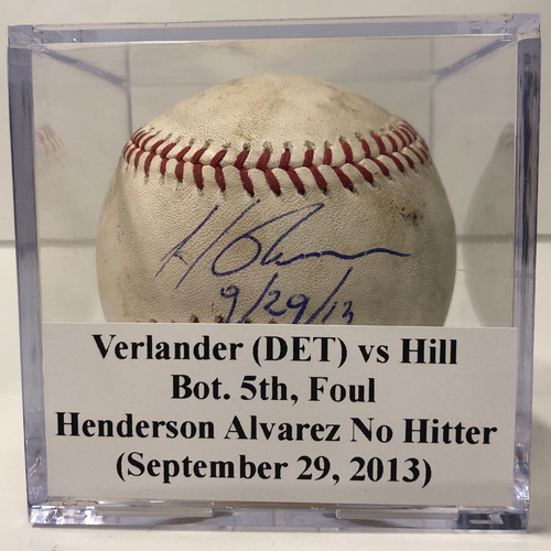 Photo of Game Used & Autographed Baseball: Justin Verlander (DET) vs Hill Koyie (MIA) *Henderson Alvarez No Hitter Game - First No Hitter Thrown at Marlins Park as Miami Marlins - September 29, 2013*