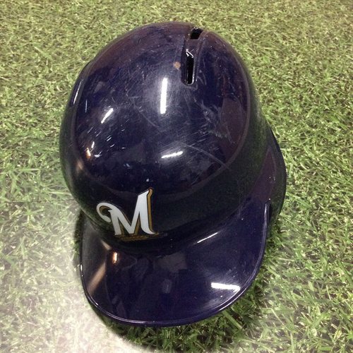 Photo of Jesus Aguilar 2018 Game-Used Batting Helmet (9/17 - Yelich 2nd Cycle Game; 9/19 - First 100th RBI Season; 9/26 - Postseason-Clinching Game)