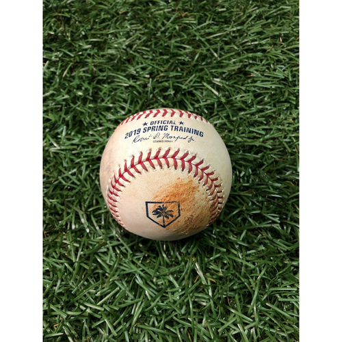 Photo of Spring Training Game Used Baseball: Matt Krook ball in dirt to Trey Amburgey - February 24, 2019 v NYY