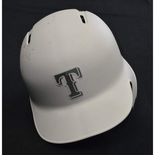 "Photo of Jose ""TREVI"" Trevino Texas Rangers Game-Used 2019 Players' Weekend Helmet"