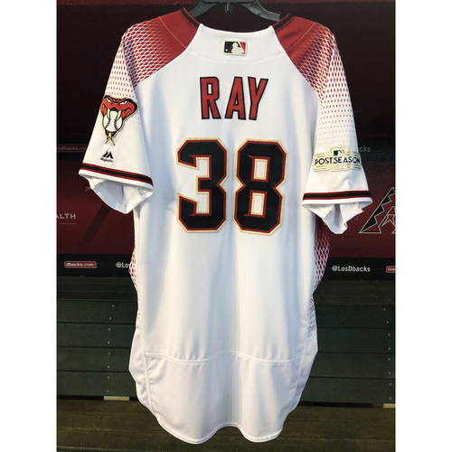 Photo of Robbie Ray 2017 Postseason Team-Issued White/Red Home Jersey
