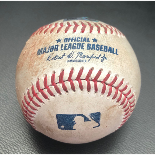 Photo of Game-Used Baseball: Pitcher: Mike Fiers, Batter: Kyle Lewis (Single)- Bottom 1st (OAK @ SEA -8/1/2020)