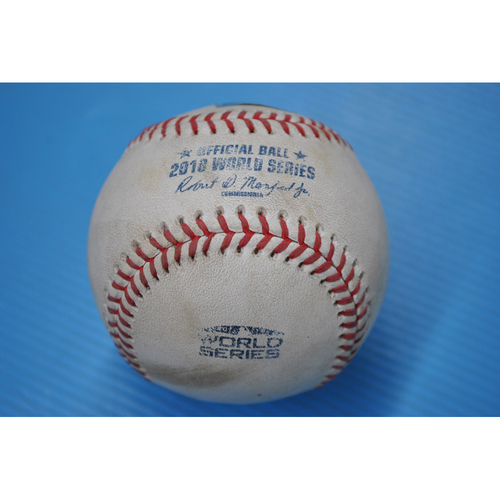 Photo of Game-Used Baseball - 2018 World Series - Game 3 - Pitcher: Walker Buehler, Batter: Jackie Brantley Jr. - Single to 3B - 3rd Inning