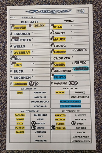 Photo of Authenticated Game Used Lineup Card (October 1, 2010 at MIN): Edwin Encarnacion had 1 HR and 4 RBIs