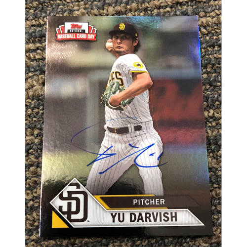 Photo of Yu Darvish Autographed Topps 2021 National Baseball Card Day Petco Park Exclusive Card