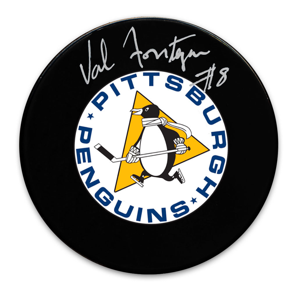 Val Fonteyne Pittsburgh Penguins Retro Autographed Puck