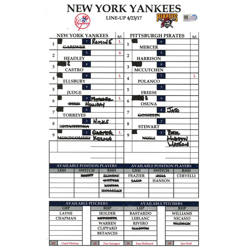 Photo of Yankees at Pittsburgh 4-23-2017 Game-Used Lineup Card