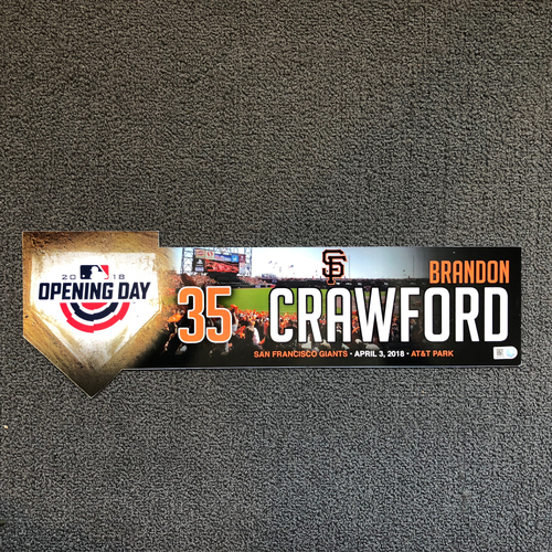 San Francisco Giants - Brandon Crawford 2018 Opening Day Locker Tag