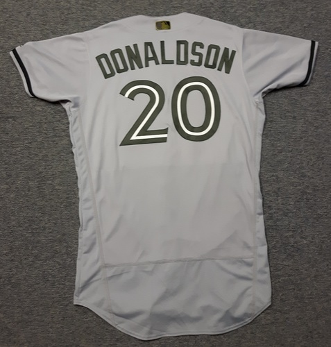 Photo of Authenticated Game Used 2018 Memorial Day Jersey - #20 Josh Donaldson (May 26, 2018: 1-for-3 with 1 BB). Size 44