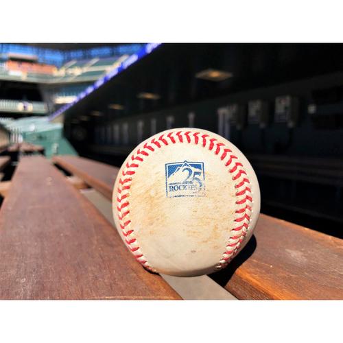Photo of Colorado Rockies Game-Used Baseball - Anderson v. Nimmo - Single - June 18, 2018