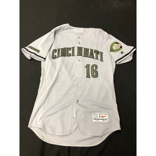 Photo of Tucker Barnhart -- Game-Used -- Memorial Day Jersey (Worn: May 26-28, 2018)