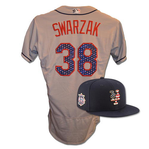 Photo of Anthony Swarzak #38 - Game Used 4th of July Jersey and Hat - Mets vs. Blue Jays - 7/4/18