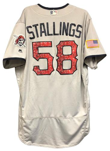 Photo of Jacob Stallings Game-Used Stars & Stripes Jersey