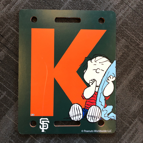"Photo of San Francisco Giants - 2018 Team Issued Strikeout ""K Board"" - PEANUTS Day - Linus"