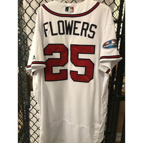 Photo of Tyler Flowers Game-Used 2018 NLDS Jersey - Worn 10/7/18 - First Postseason Game at SunTrust Park