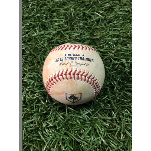 Photo of Spring Training Game Used Baseball: Emilio Bonifacio foul tip off David Hale - February 24, 2019 v NYY