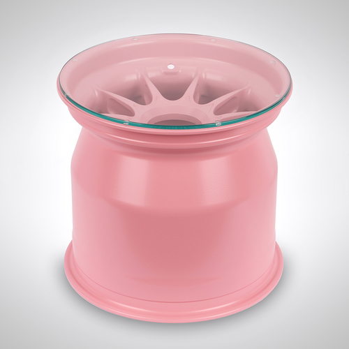 Photo of BWT Racing Point F1 Team 2014 Pink Wheel Rim Coffee Table