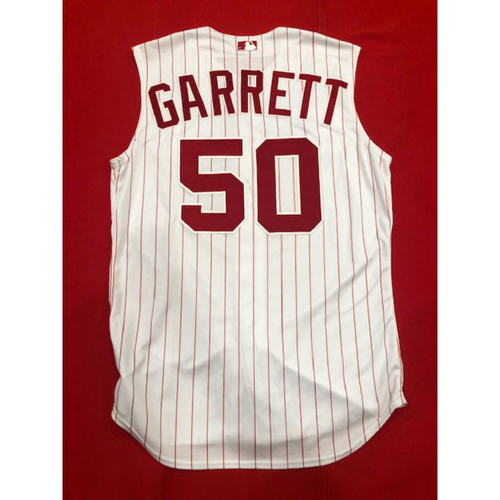 Photo of Amir Garrett -- Game-Used 1995 Throwback Jersey & Pants (Relief Pitcher: 1.0 IP, 0 H, 0 R) -- D-backs vs. Reds on Sept. 8, 2019 -- Jersey Size 46 / Pants Size 37-42-41
