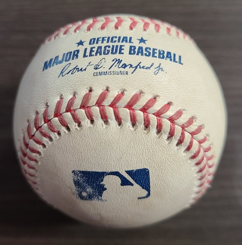 Photo of Authenticated Game Used Baseball: Foul by Jeff McNeil against Santiago Espinal (Sep 11, 20 vs NYM). Top 9. Game played in Buffalo.