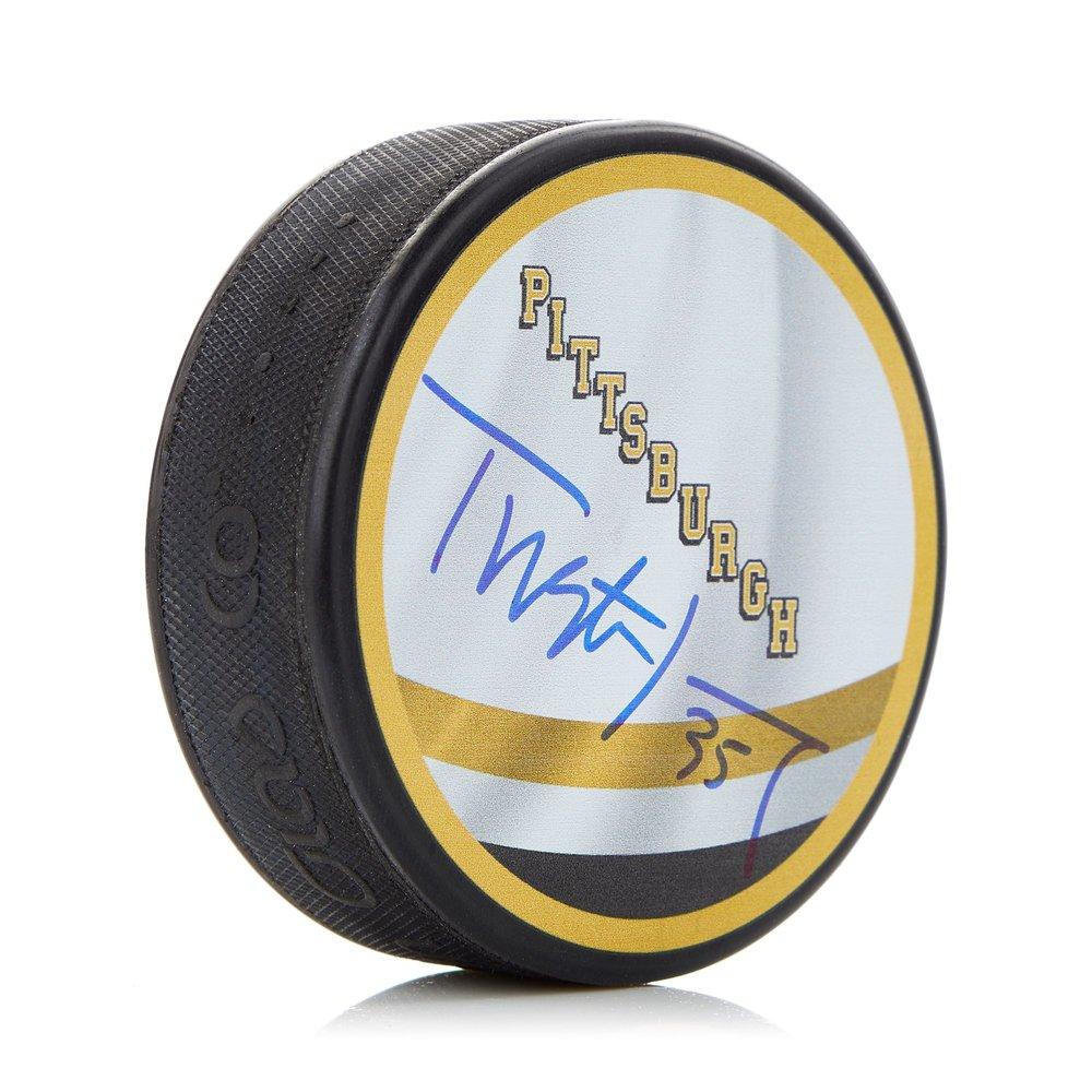 Tristan Jarry Pittsburgh Penguins Autographed Reverse Retro Hockey Puck