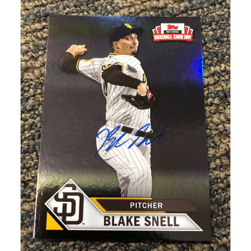 Photo of Blake Snell Autographed Topps 2021 National Baseball Card Day Petco Park Exclusive Card