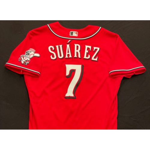 Photo of Eugenio Suarez -- 2021 Los Rojos Jersey -- Game Used from May 5 (Starting SS) & Sept 24 (Starting 3B: Went 2-for-5, HR-28, 2 RBI, R) -- Size: 44