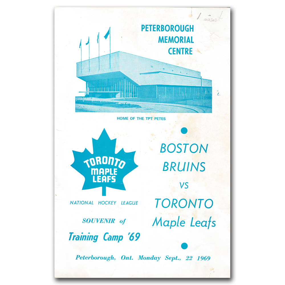 Toronto Maple Leafs 1969 Training Camp Line-up Card - Peterborough Memorial Centre