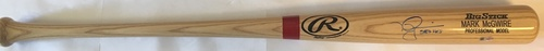 "Photo of Mark McGwire ""583 HR's"" Autographed Rawlings Bat"