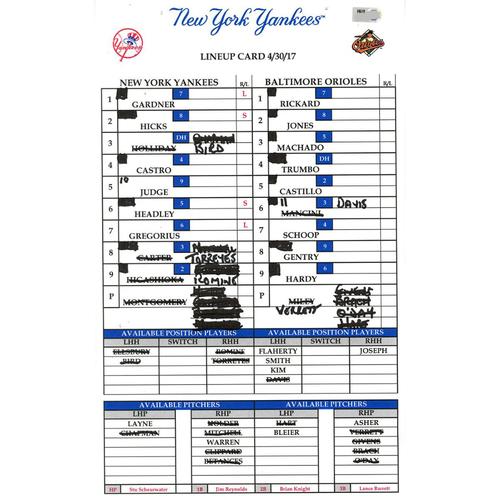 Photo of Baltimore at Yankees 4-30-2017 Game-Used Lineup Card