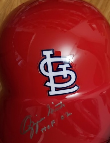 "Photo of Ozzie Smith ""HOF 02"" Autographed Cardinals Helmet"