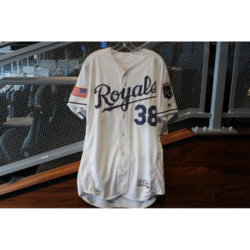 Photo of Game-Used Stars & Stripes Jersey: Jorge Bonifacio (Size 46 - CLE @ KC - 7/4/18)