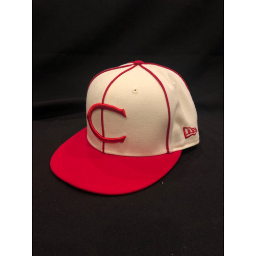 Kyle Farmer -- Game-Used Cap -- 1912 Throwback Game (Defensive Substitution: Went 1-for-1, R) -- Dodgers vs. Reds on May 19, 2019