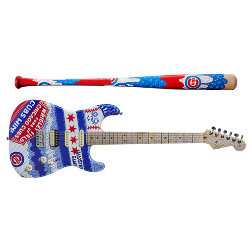 Photo of One-of-a-kind Artist-Painted Cubs Louisville Slugger Bat and Fender Stratocaster Guitar