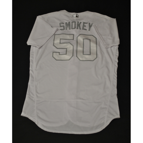 "Photo of Mike ""SMOKEY"" Fiers Oakland Athletics Game-Used 2019 Players' Weekend Jersey"
