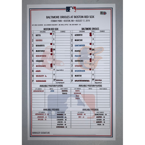 Photo of Baltimore Orioles VS Boston Red Sox August 17, 2019 Game Used Lineup Card - Red Sox Win 4 to 0