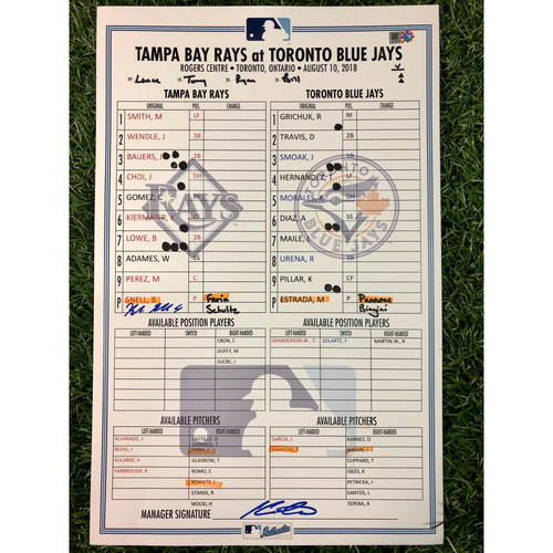 Photo of Game Used Autographed Lineup Card: Blake Snell (W, 5.0IP, 6 SO - A.L. Cy Young Winner), Michael Perez (2-4, HR, 2R, 2RBI - First Career HR) and Thomas Pannone (1.2IP, 3 SO - MLB Debut and First Career K) - August 10, 2018 at TOR