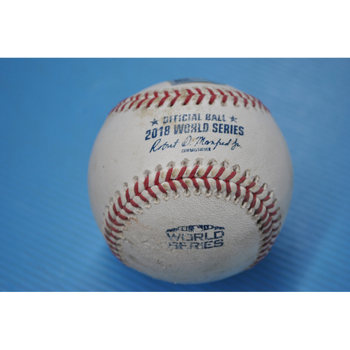 Photo of Game-Used Baseball - 2018 World Series - Game 5 - Pitcher: David Price, Batter: Manny Machado - Foul - 1st Inning