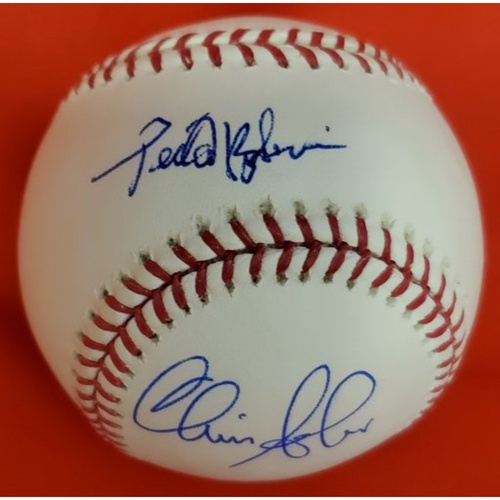 Photo of Sabo & Borbon 2010 Induction Autographed Baseball  (Borbon On Sweet Spot)