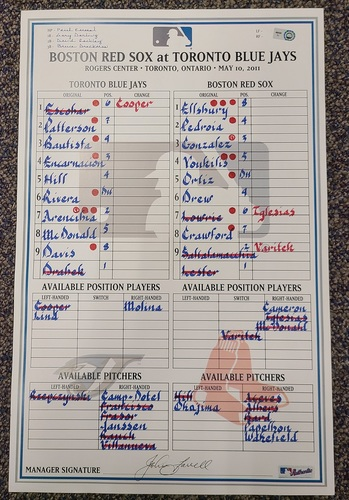 Photo of Authenticated Game Used Lineup Card (May 10, 2011 vs BOS): 11th HR of Season for Jose Bautista (Hank Aaron Award Winning 43 HR Season). Also a David Ortiz HR Game.