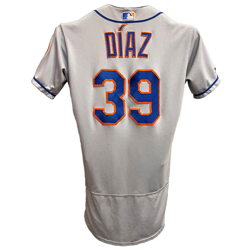 Photo of Edwin Diaz #39 - Game Used Road Grey Jersey - .1 IP, 1 K - Mets vs. Reds - 9/20/19